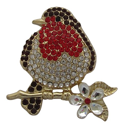 Brooch Boutique Gold Plated Crystal Robin Brooch Robin Redbreast Bird Brooch Christmas Pin Gift Boxed from Brooch Boutique