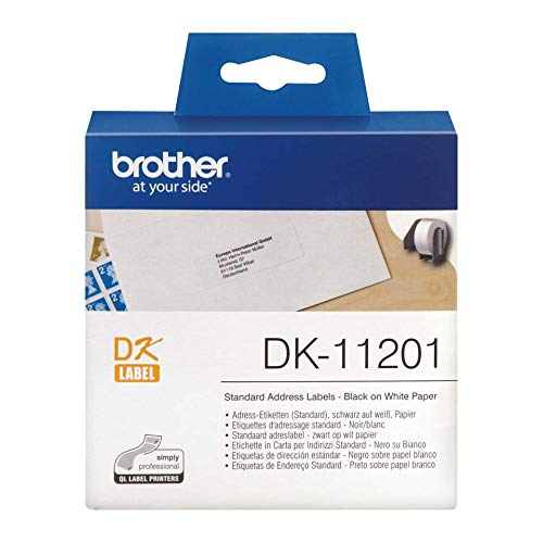Brother DK-11201 Label Roll, Standard Address Labels, Black on White, 400 Labels, 29 mm (W) x 90 mm (L), Brother Genuine Supplies from Brother
