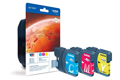 Brother LC-1100HYC/LC-1100HYM/LC-1100HYY Inkjet Cartridge, Cyan/Magenta/Yellow, Multi-Pack, High Yield, Includes 3 x Inkjet Cartridges, Brother Genuine Supplies from Brother