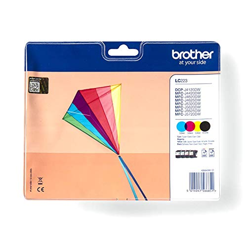 Brother LC-223BK/LC-223C/LC-223M/LC-223Y Inkjet Cartridges, Black/Cyan/Magenta/Yellow, Multi-Pack, Standard Yield, Includes 4 x Inkjet Cartridges, Brother Genuine Supplies from Brother