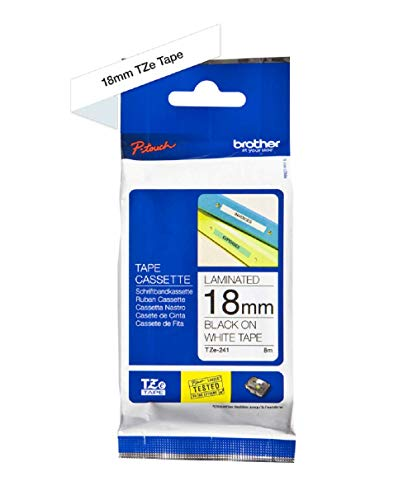 Brother TZe-241 Labelling Tape Cassette, 18 mm (W) x 8 m (L), Laminated, Brother Genuine Supplies - Black on White from Brother