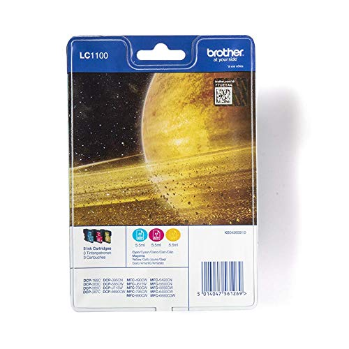 Brother LC1100C/LC1100M/LC1100Y Inkjet Cartridges, Rainbow Pack, Standard Yield, Cyan, Magenta and Yellow, Brother Genuine Supplies from Brother