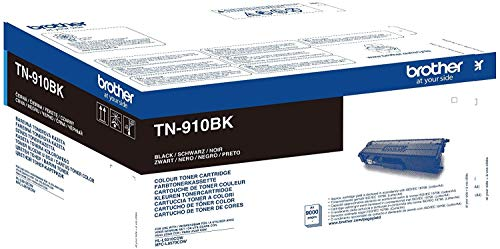 Brother TN-910BK Toner Cartridge, Black, Single Pack, Ultra High Yield, includes 1 x Toner Cartridge, Brother Genuine Supplies from Brother