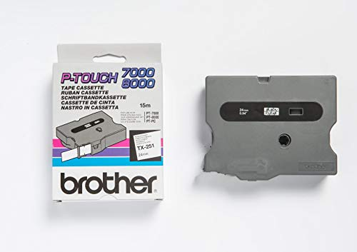 Brother TX-251 Labelling Tape Cassette, Black on White, 24 mm (W) x 15 m (L), Laminated, Brother Genuine Supplies from Brother