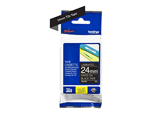 Brother TZe-355 24 mm (W) x 8 m (L) Labelling Tape Cassette | Laminated Brother Genuine Supplies, White on Black from Brother