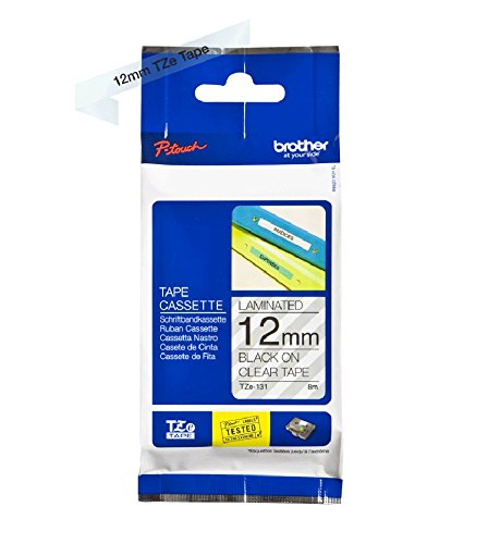 Brother TZe-131 Labelling Tape Cassette, 12 mm (W) x 8 m (L), Laminated, Brother Genuine Supplies - Black on Clear from Brother