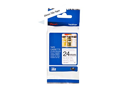 Brother TZe-N251 Labelling Tape Cassette, Black on White, 24 mm (W) x 8 m (L), Non-Laminated, Brother Genuine Supplies from Brother