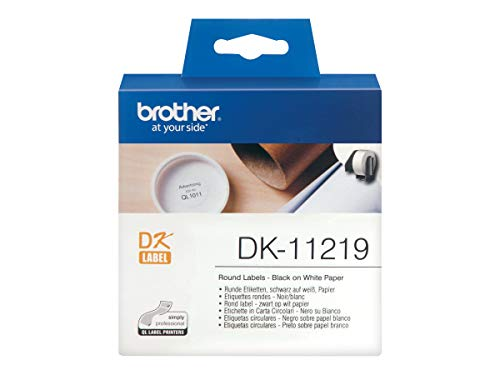 Brother DK-11219 Label Roll, Round Labels, Black on White, 1200 Labels, 12mm, Brother Genuine Supplies from Brother