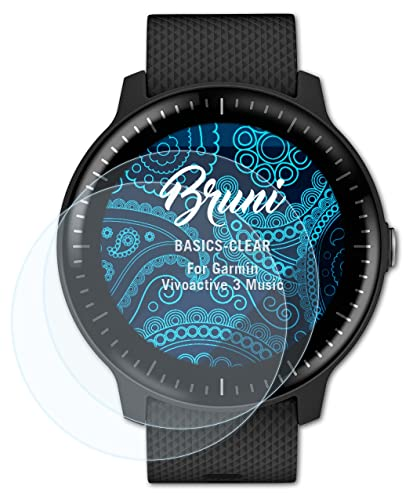 Bruni Screen Protector compatible with Garmin Vivoactive 3 Music Protector Film, crystal clear Protective Film (2X) from Bruni