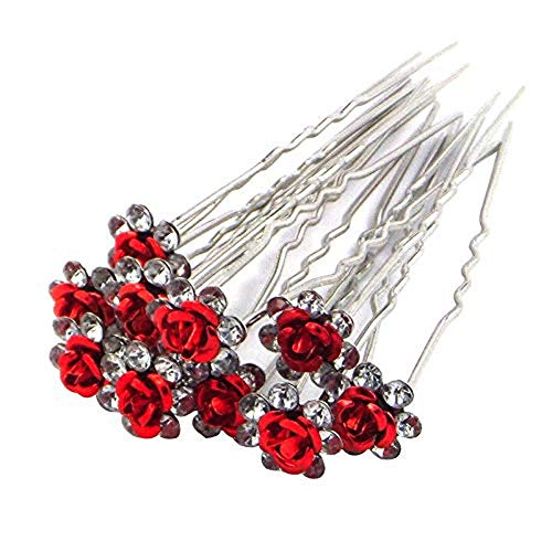Brussels08 10 Pcs Fashoin Silver Plated Crystal Rhinestone Rose Flower Hair Pin Clips Hairpin Jewelry Barrettes Headwear Wedding Hair Headpiece for Women Girls Red from Brussels08
