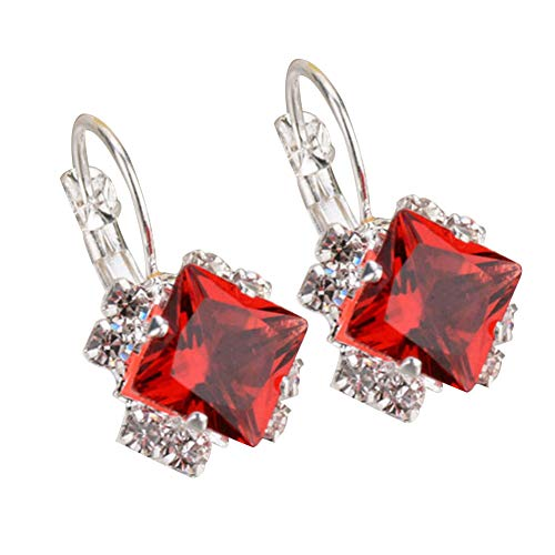 Brussels08 1Pair Women Fashion Rhinestone Crystal Leverback Earring Studs Shiny Diamond Hoop Earring Wedding Party Jewelry Gift for Women Girls Red from Brussels08