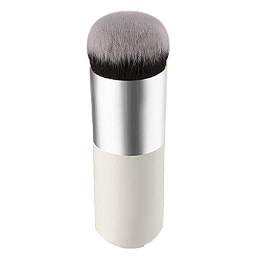 Brussels08 1Pc Large Round Head Face Make Up Brushes Powder Mineral Foundation Blending Blush Buffing Makeup Brush Buffer Kabuki Liquid Powder BB Cream Blending Brushes White + Silver from Brussels08