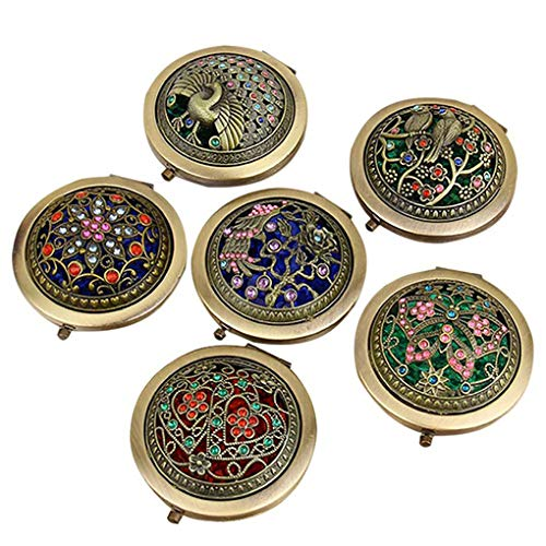 Brussels08 1Pc Vintage Handheld Portable Hollow Flower Mini Folding Compact Mirror Round Double-sided Pocket Makeup Mirror for Wedding Favor, Christmas Gift, Birthday Gift Random from Brussels08