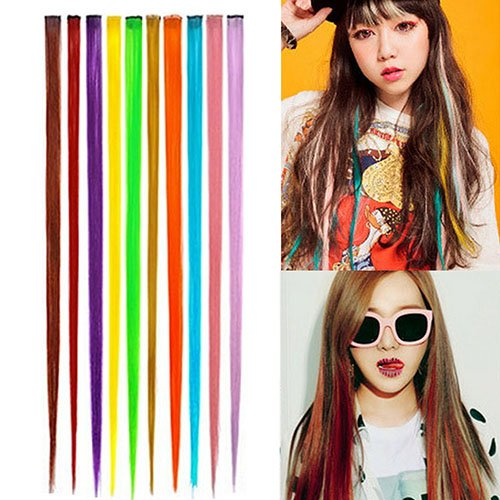 Brussels08 1Pc Women Multi-Color Long Straight Synthetic Clip In Hair Extensions Piece Colored Party Highlights DIY Hair Extensions Cosplay Hairpieces Colored Wigs Pieces Gold from Brussels08