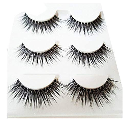Brussels08 3Pairs Black Thick Fake Eyelashes Reusable 3D Handmade False Eyelashes Set Makeup Long Cross False Eye Lashes Extensions Natural Look for Makeup 3D-25 from Brussels08