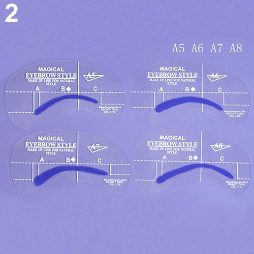 Brussels08 4 Styles Grooming Stencil Kit Eyebrow Shaping Templates DIY Beauty Eyebrow Stencil Shaper Reusable Eyebrow Drawing Guide Card Brow Shaping Template Makeup Tools A5-A8 from Brussels08