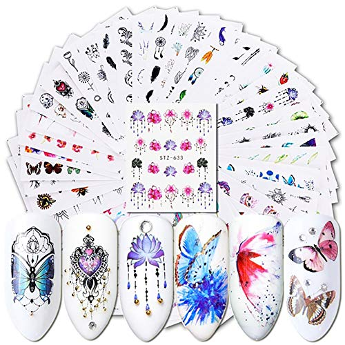 Brussels08 40Pcs Watermark Slider Nail Art Stickers Flower Butterfly Pattern DIY Water Transfer Manicure Nails Stickers Nail Art Tattoo Decal for Toenails and Fingernails Random from Brussels08