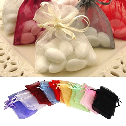 Brussels08 50 Pcs Sheer Drawstring Organza Jewelry Pouches Wedding Favor Bags Party Festival Candy Bags Jewelry Gifts Pouch Samples Display Drawstring Pouches Gift Wrap Bags Sky Blue 9cm by 12cm from Brussels08