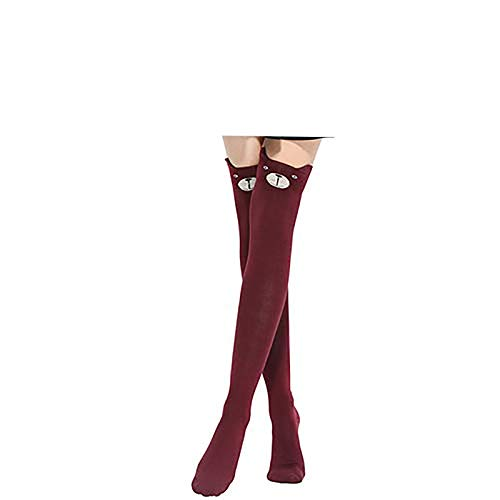 Brussels08 Cute Cartoon Animal Pattern Tight Over Knee High Socks Soft Winter Warm Knee High Thigh Stockings Cotton Long Socks Leg Warmers for Women Girls Burgundy from Brussels08