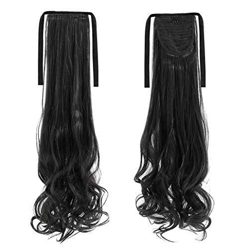 Brussels08 Fashion Long Thick Straight Curly Ponytail Hair Extension Wrap Around Ribbon Clip-in Hairpiece Comb Ponytail Big Wave Clip in Pony Tail Hair Extension for Women Girl Black Curly from Brussels08