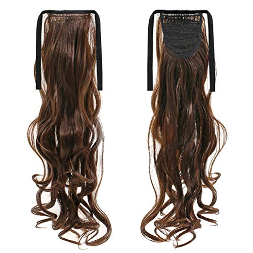 Brussels08 Fashion Long Thick Straight Curly Ponytail Hair Extension Wrap Around Ribbon Clip-in Hairpiece Comb Ponytail Big Wave Clip in Pony Tail Hair Extension for Women Girl Dark Brown Curly from Brussels08