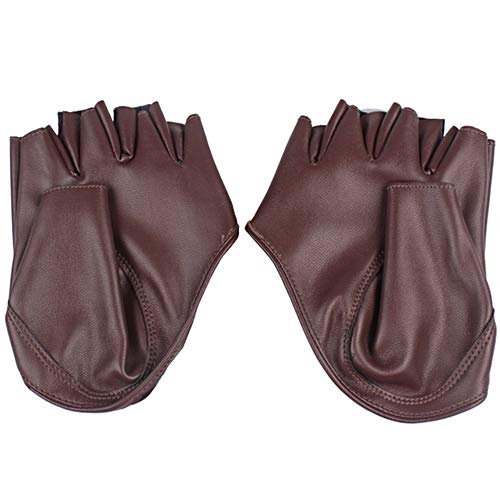 Brussels08 Women Fashion Faux Leather Half Finger Gloves Motorcycle Glove Fingerless Glove Mittens Cosplay Costume Dancing Show Performance Gloves Touchscreen Texting Gloves Coffee from Brussels08