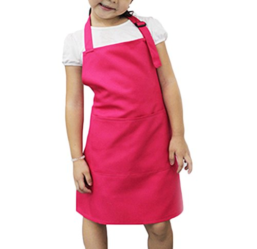Children Kid Plain Apron Bib with Pocket for Kitchen, Classroom,Crafts Art Painting Activity (Pink) from Brussels08