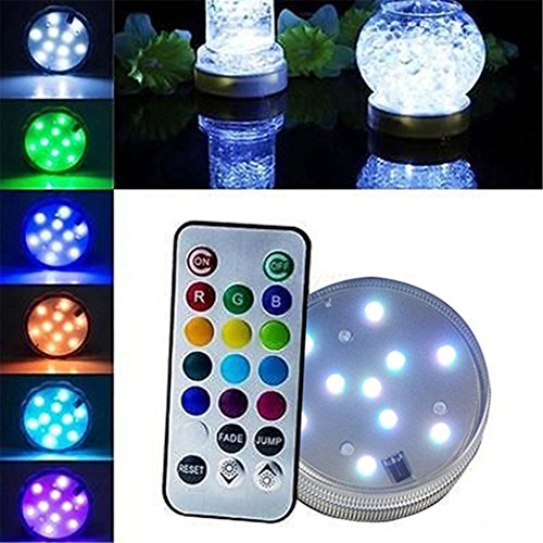 Submersible LED Lights Waterproof 13 Color Underwater Lights Remote Control Battery Operated 10-LED RGB Decorative Lights for Lighting up Vase, Fish Tank Aquarium, Pond,Swimming Pool, Fountain from Brussels08