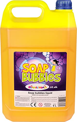 BUBBLES WORLD 5 Litre Soap Bubbles solution, liquid for Bubble Machine, GIANT bubbles, Bubble Gun, fluid, liquid from BUBBLES WORLD