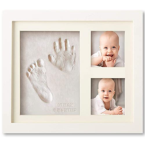 Bubzi Co Baby Handprint Kit & Footprint Photo Frame for Newborn Girls and Boys, Baby Photo Album For Shower Registry, Personalized Baby Gifts, Keepsake Box Decorations for Room Wall Nursery Decor from Bubzi Co