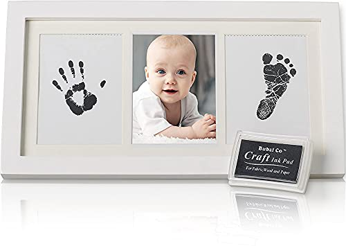 Beautiful Baby Handprint Kit & Footprint Photo Frame for Newborn Girls and Boys, Unique Baby Shower Gifts Set for Registry, Memorable Keepsake Box Decorations for Room Wall or Nursery Decor … from Bubzi Co