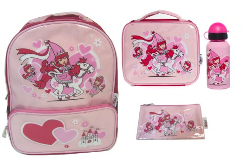Bugzz Kids Stuff Children's School Bag Set Backpack, Pencil Case, Lunch Bag and Drinks Bottle (Princess) from Bugzz