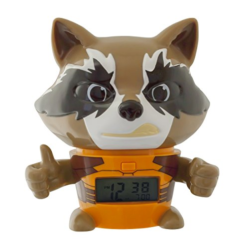 BulbBotz Marvel 2021357 Guardians of the Galaxy Vol.2 Rocket Raccoon Kids Night Light Alarm Clock with Characterised Sound | brown/orange| plastic | 5.5 inches tall | LCD display | boy girl | official from BulbBotz