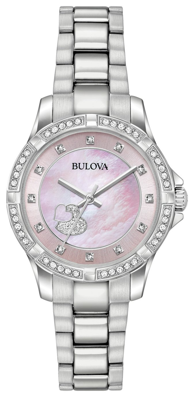 Bulova Ladies' Pink Mother of Pearl Crystal Heart Watch from Bulova