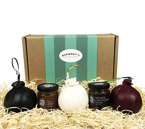 Shorrocks Lancashire Cheese Bomb & Chutney Gift Hamper - 3 x 230g Cheese Bombs - Traditional, Red Onion, Vintage Gold Bomb & Snowdonia Vintage Apple Orchard Chutney - Hamper Exclusive to Burmont's from Burmont's Speciality Gifts