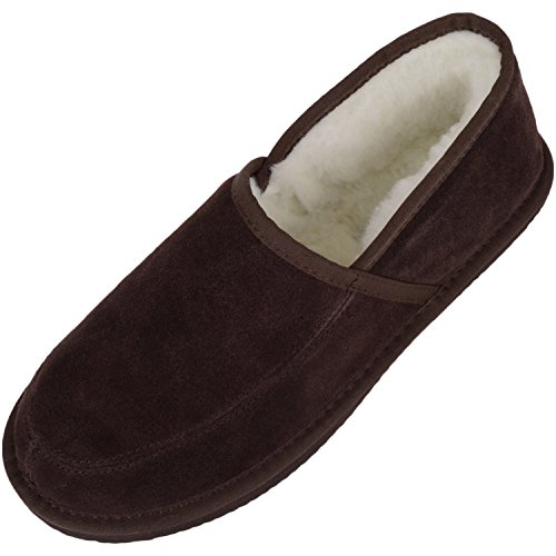 Unisex Suede Full Slipper with Full Wool Lining and Hard Sole by Bushga - Brown UK Size 6 from Bushga