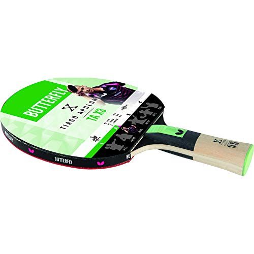 Butterfly Tiago Apolonoa TAX3 Table Tennis Bat - ITTF Approved 1.5mm Pan Asia Rubber from Butterfly