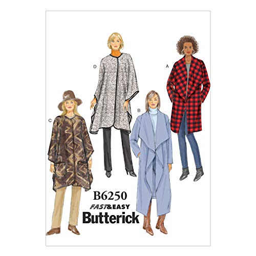 Butterick Patterns 6250 Y,Misses Jacket,Coat and Wrap,Sizes XSM(4-6)-SML(8-10)-MED(12-14) from Butterick Patterns