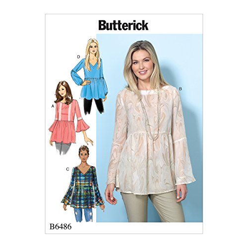 Butterick Patterns 6486 Y,Misses Top,Sizes XSM-MED, Tissue, Multi-Colour, 17 x 0.5 x 22 cm from Butterick Patterns