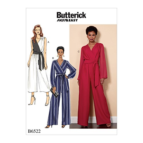 Butterick Patterns 6522 B5 Misses/Women's Jumpsuit and Sash Sewing Pattern, Tissue, Multi-Colour, 17 x 0.5 x 22 cm from Butterick Patterns