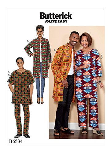Butterick Patterns 6534 XM,Misses/Men's Coat,Tunic and Pants,Sizes S-L, Tissue, Multicoloured, 17 x 0.5 x 22 cm from Butterick Patterns