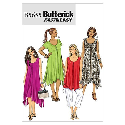 Butterick Patterns B5655 Size B5 8-10-12-14-16 Misses'/ Women's Top, Dress and Pants, Pack of 1, White from Butterick Patterns