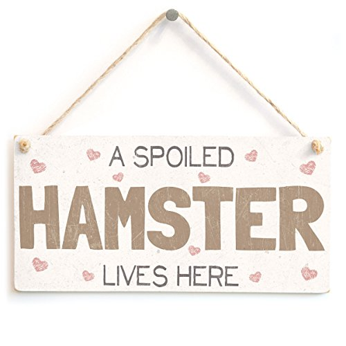 A Spoiled Hamster Lives Here - Handmade Pretty Shabby Chic Style Wooden Rabbit Sign/Plaque from Button Hill Cottage