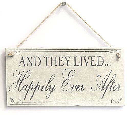 and They Lived Happily Ever After Handmade Shabby Chic Plaque Wedding Anniversary Gift from Button Hill Cottage