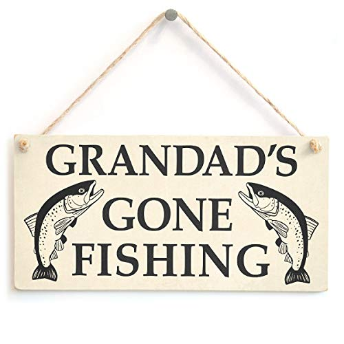 Grandad's Gone Fishing Sign - Fisherman Gift for Grandad from Button Hill Cottage