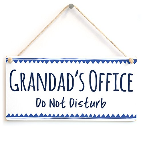 Grandad's Office Do Not Disturb - Hanging Office Door Sign Great Small Gift Idea for Grandad from Button Hill Cottage
