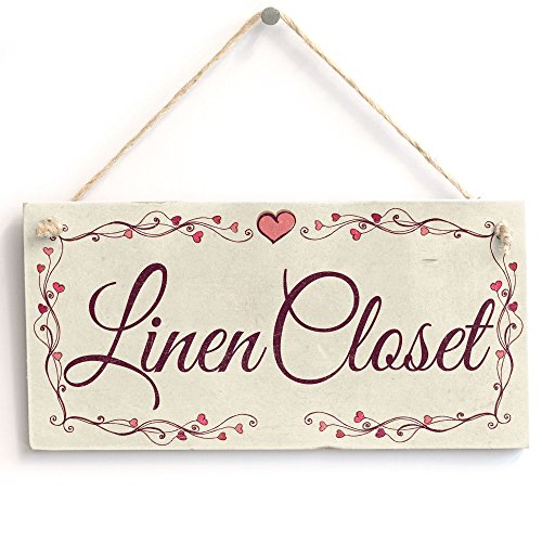 Linen Closet - Heart Design Handmade Shabby Chic Wooden Sign/Plaque from Button Hill Cottage
