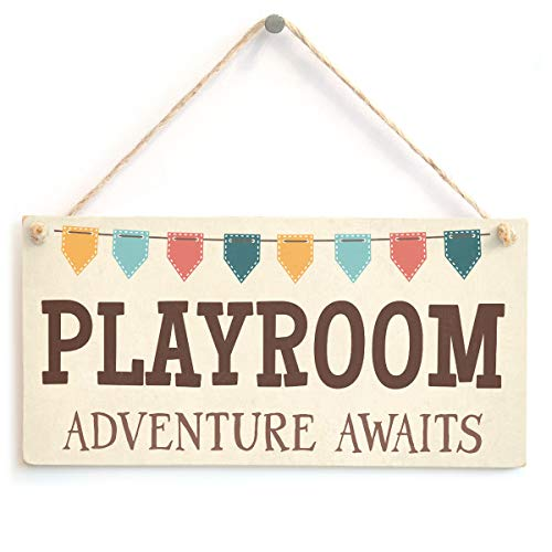 Playroom Adventure Awaits - Cute Children's Play Room Home Accessory Gift Sign Plaque from Button Hill Cottage