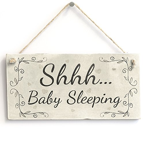 Shhh Baby Sleeping - Handmade Wood Door Sign/Plaque Newborn New Baby Gift from Button Hill Cottage