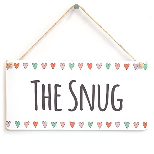 The Snug - Stylish Handmade Door Sign Coloured Hearts Border from Button Hill Cottage